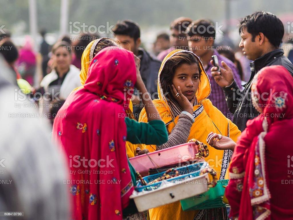 Indian girl in traditional dress in delhi stock photo