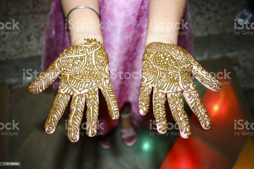Indian Girl showing her Heena Tattoo on Hands royalty-free stock photo