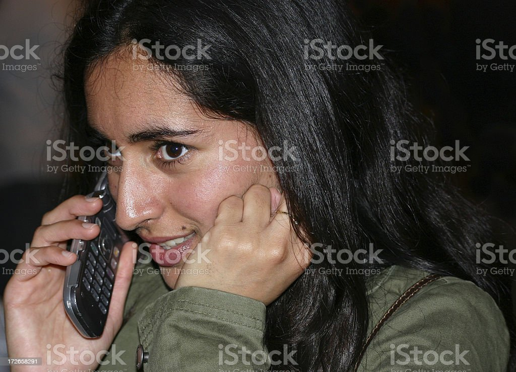 Indian girl with cell phone stock photo