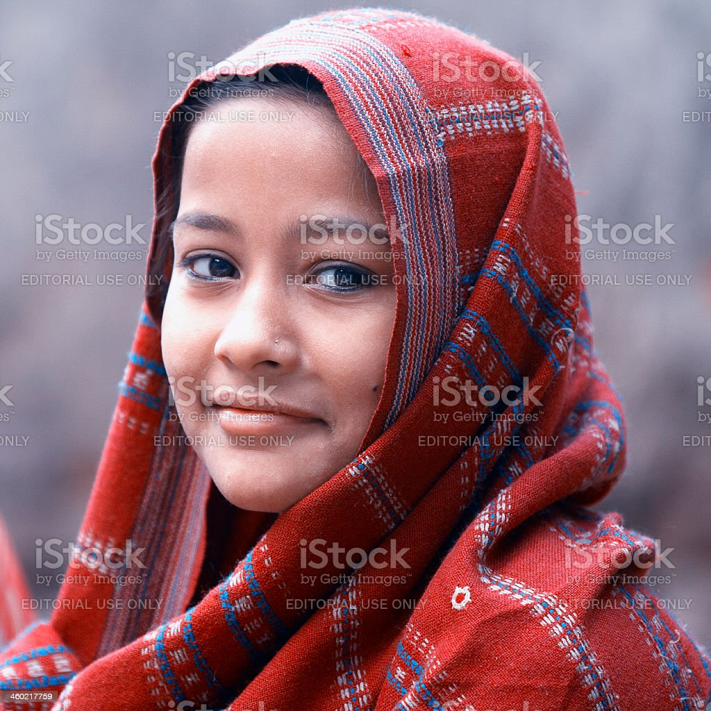 indian girl with red scarf royalty-free stock photo