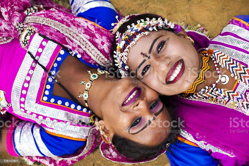 Indian Girls Smiling in Rajasthan Desert royalty-free stock photo