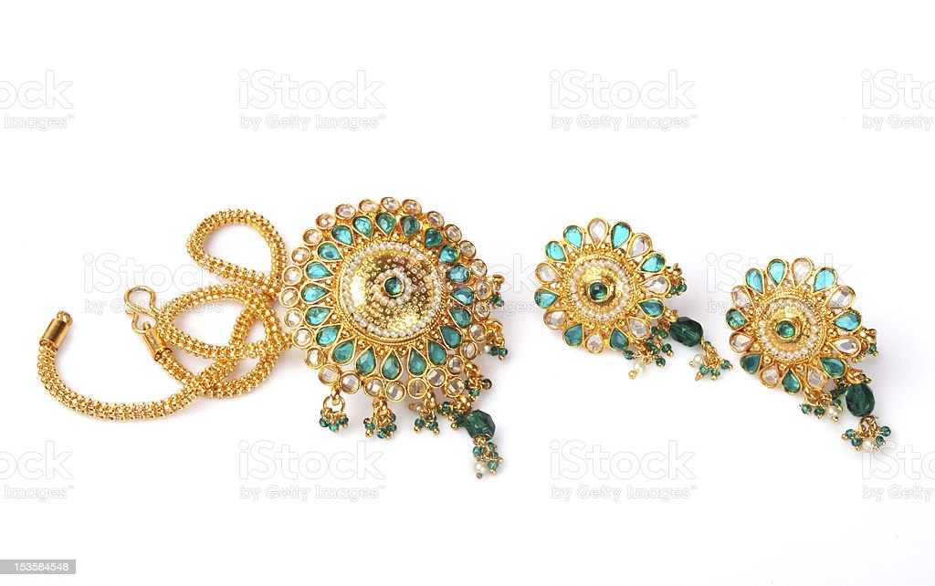 Indian Gold Necklace with Earrings royalty-free stock photo