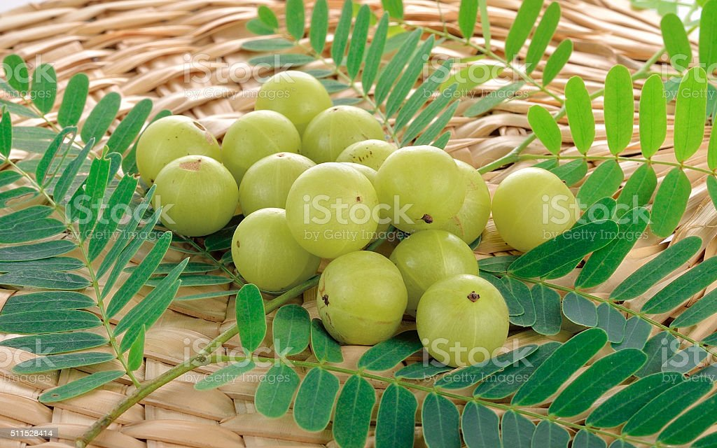Indian gooseberries on white background stock photo