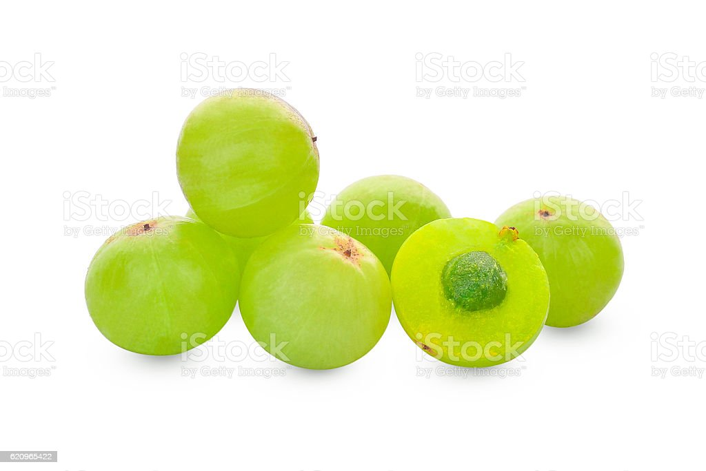 Indian gooseberry or Amla (Phyllanthus emblica) on white stock photo