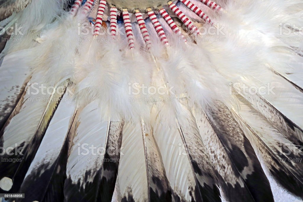 Indian Headdress, close-up of eagle feathers stock photo