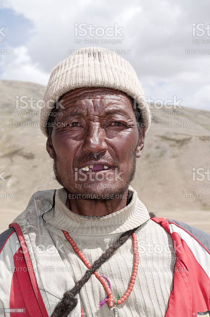Indian Herder on Plateau Mora Ladakh royalty-free stock photo