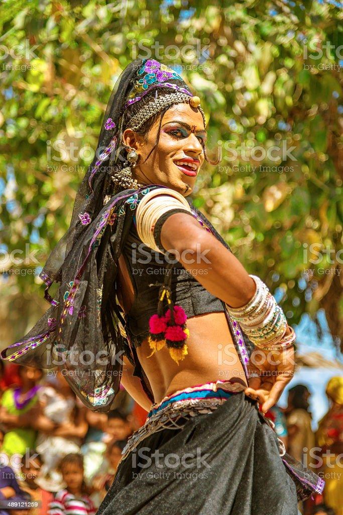 Indian Hijra dancing stock photo