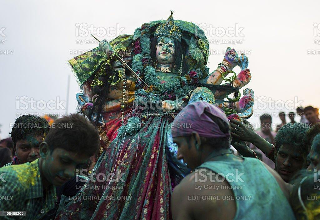 Indian Hindu Devotees carry Durga idol stock photo