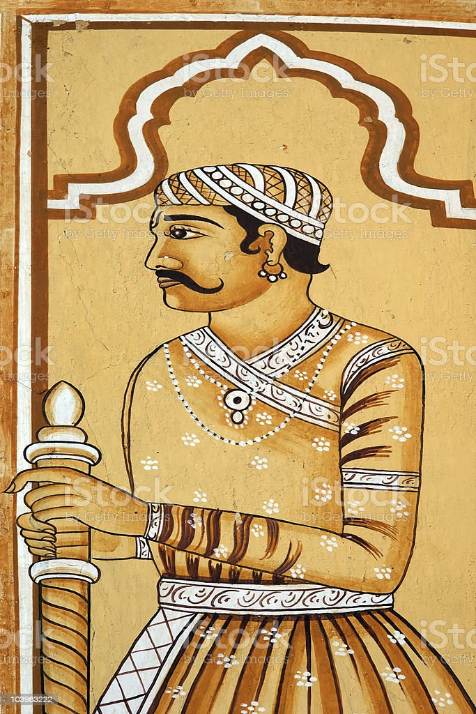 Indian historic warrior painting royalty-free stock photo