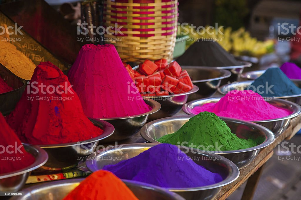 indian holi colors at market stock photo