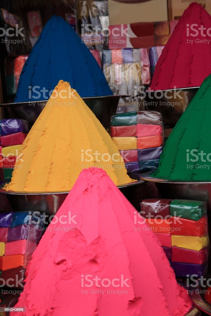Indian holi colors powders at Jew town, Kochi, Kerala, India stock photo