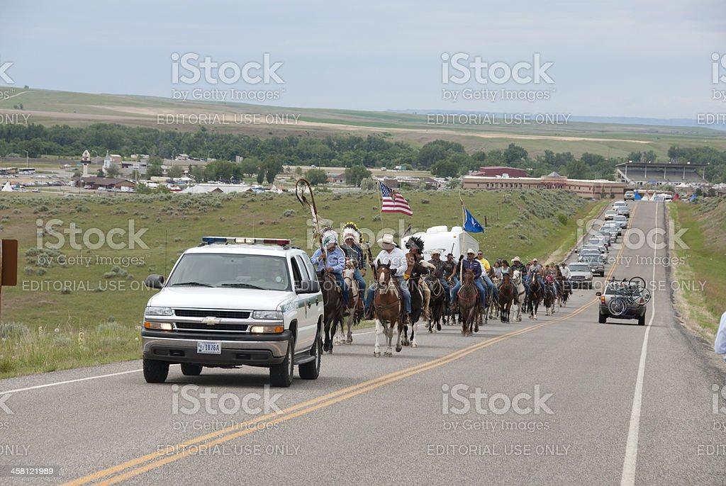 Indian horsemen heading to Little Bighorn Battlefield National Monument stock photo