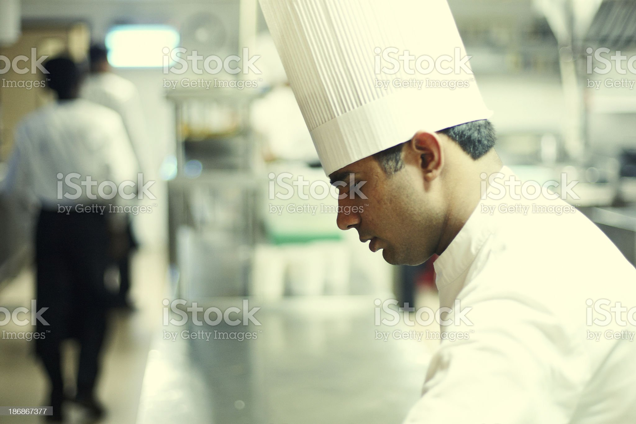 Indian hotel chef preparing food royalty-free stock photo