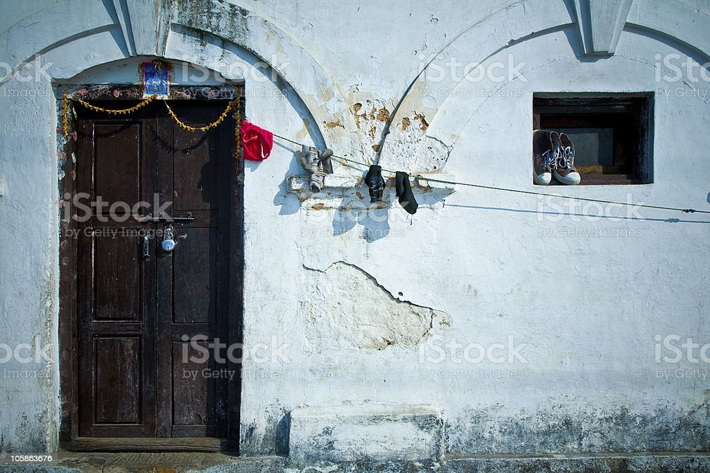 Indian house wall stock photo