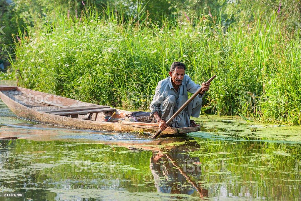 Indian in Shikara Boat on Lake Dal Srinagar stock photo