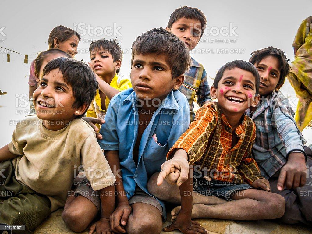 Indian Kids in the Jaisalmer Desert, Rajasthan, India stock photo