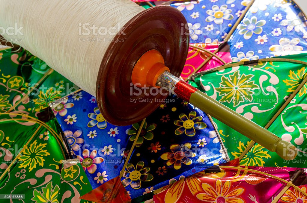 Indian kites and spool for kite fighting stock photo