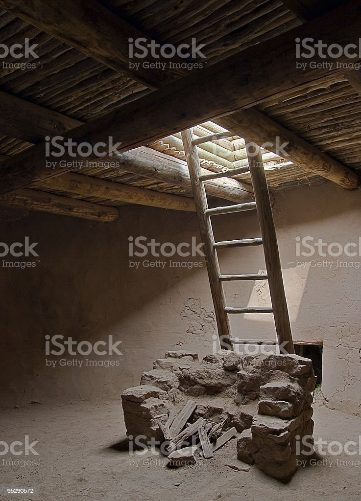 Indian Kiva And Ladder, Pecos National Historical Park, New Mexico stock photo