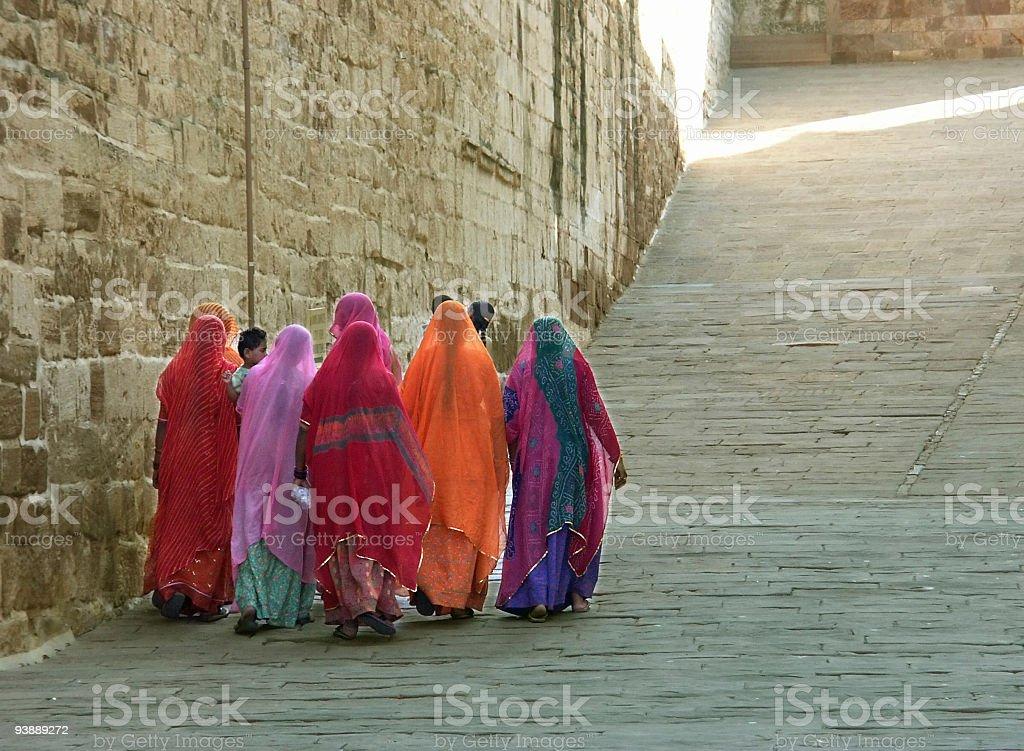 Indian ladies going up to Meherangarh Fort,Jodhpur,India. stock photo
