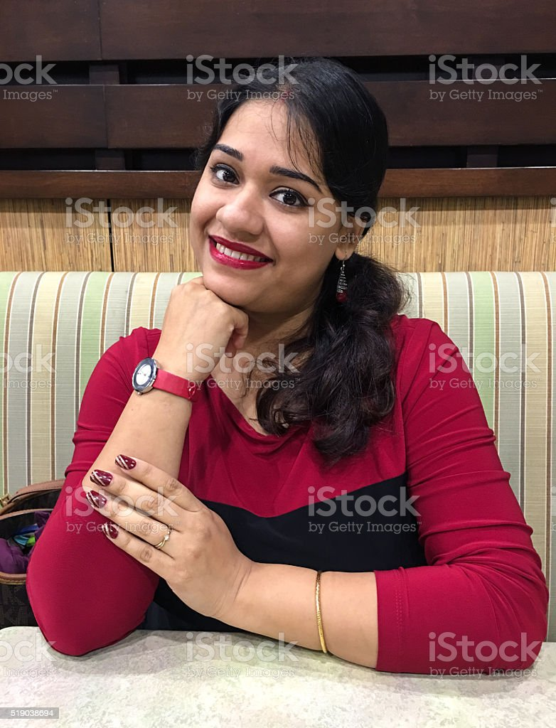 Indian Lady in Red Dress stock photo