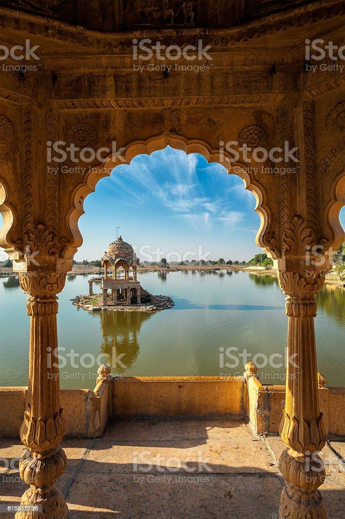 Indian landmark Gadi Sagar in Rajasthan stock photo