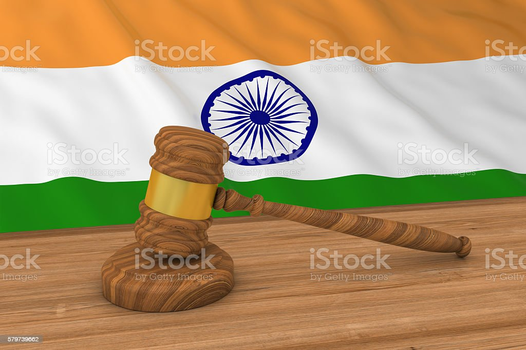 Indian Law Concept - Flag of India Behind Judge's Gavel stock photo