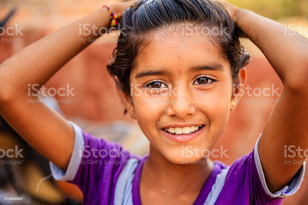 Indian little girl, Bishnoi village near Jodhpur, Rajasthan stock photo