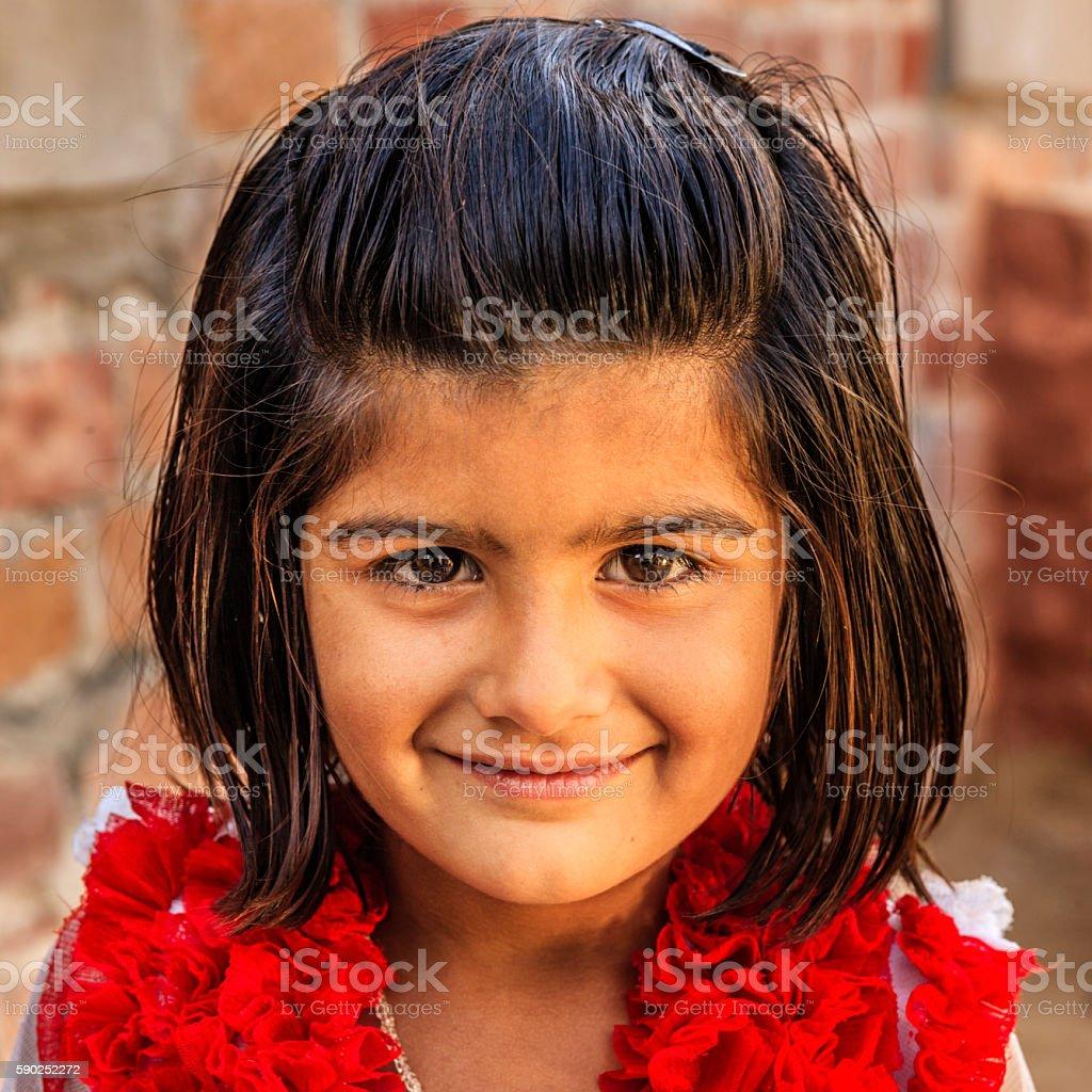 Indian little girl, Bishnoi village near Jodhpur, Rajasthan stock photo