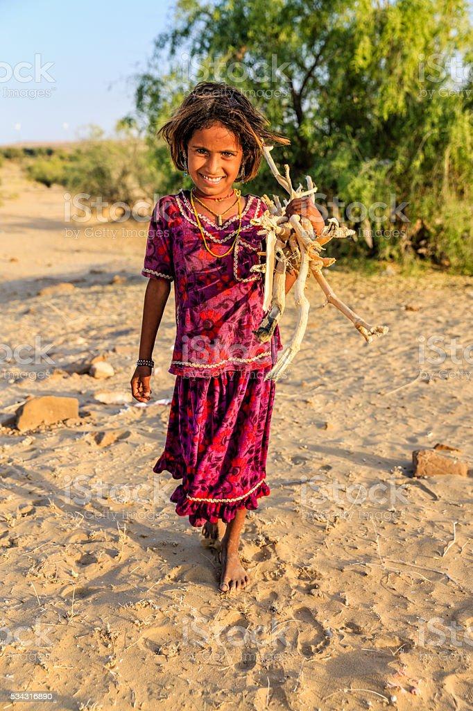 Indian little girl carrying brushwood, desert village, Rajasthan, India. stock photo