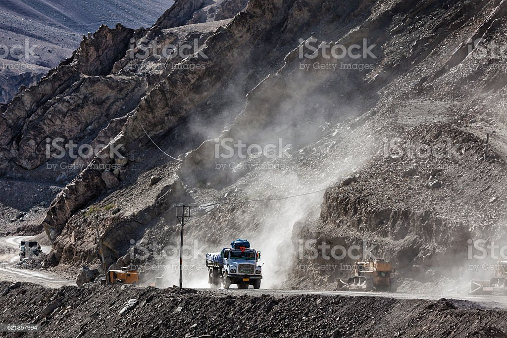 Indian lorry on road in Himalayas stock photo