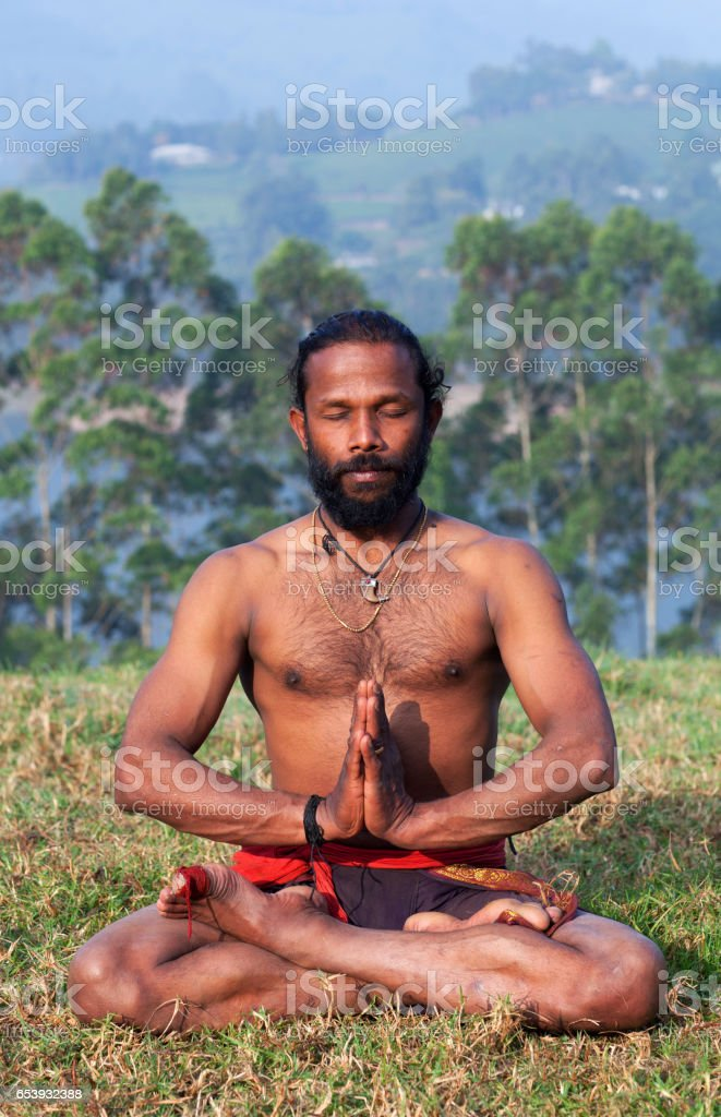 Indian man meditating in lotus yoga pose on green grass stock photo