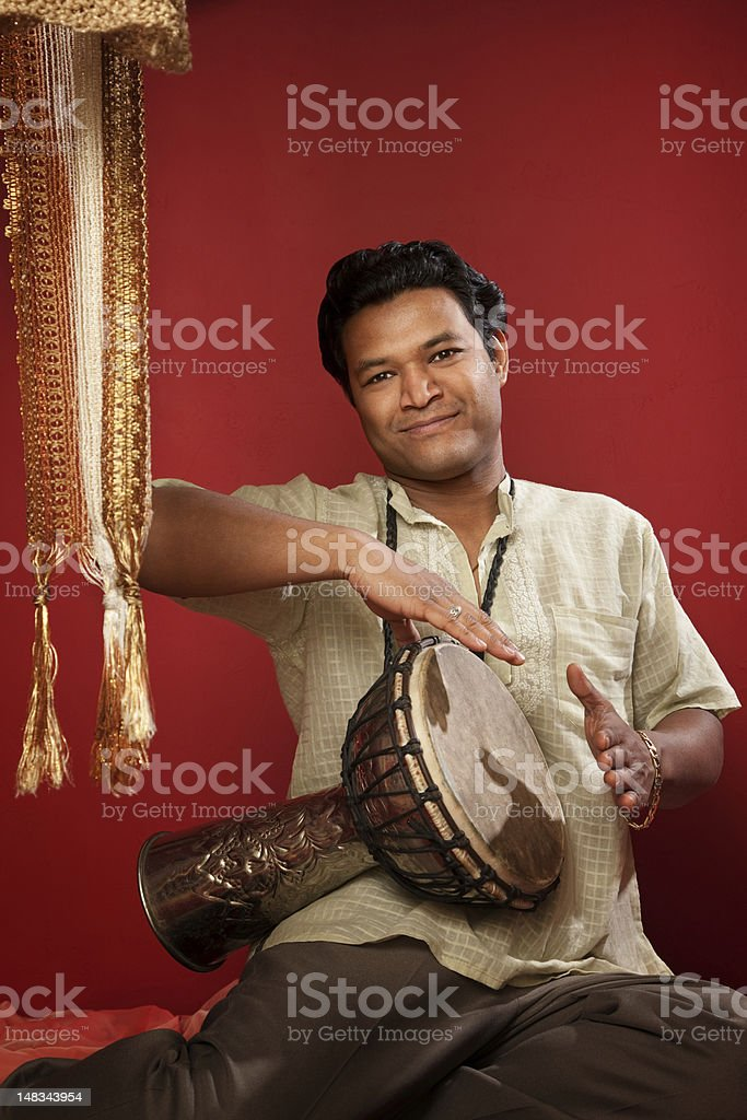 Indian Man Playing Tabla stock photo