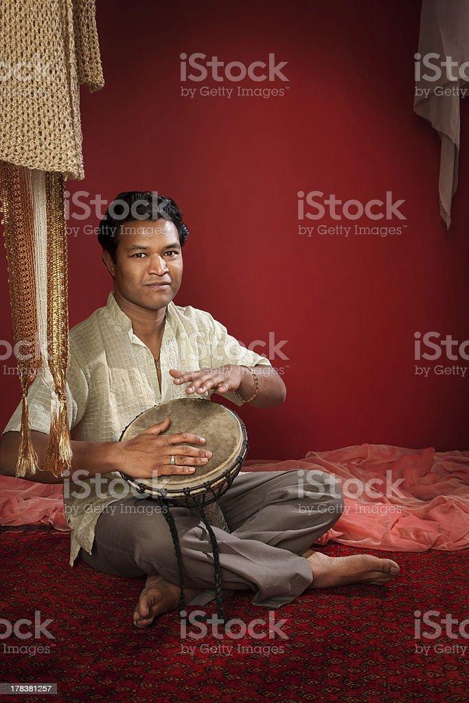 Indian Man Plays a Tabla stock photo