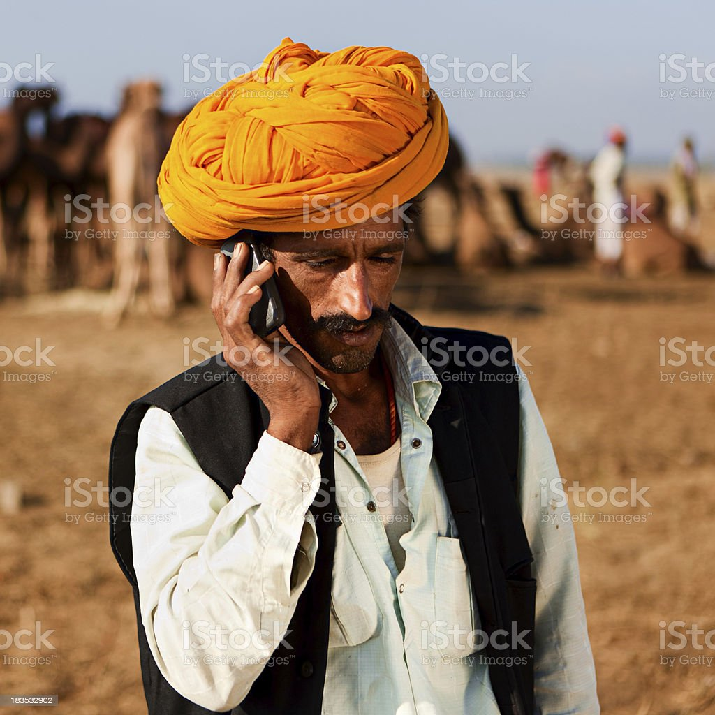 Indian man using a mobile royalty-free stock photo
