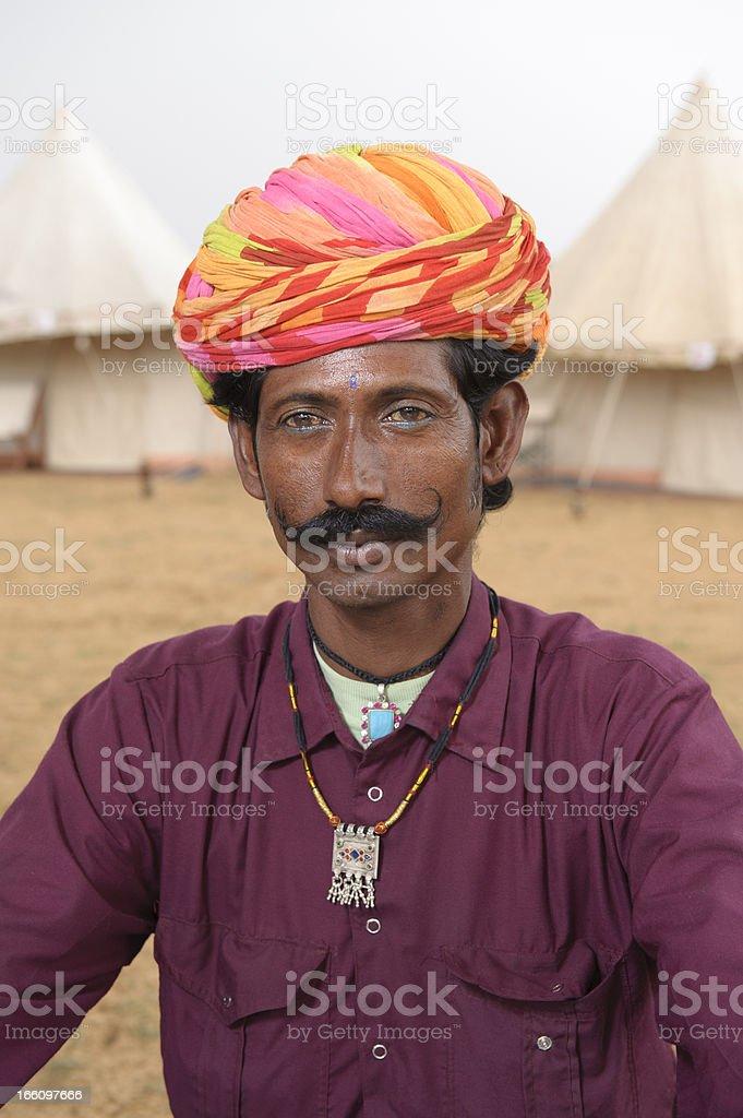 Indian Man with Fabulous Moustache - Portrait royalty-free stock photo