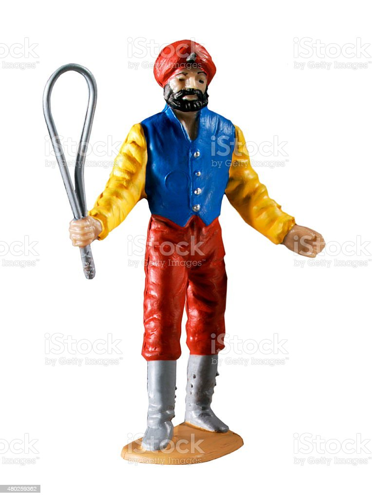 Indian Man With Turban and Whip stock photo