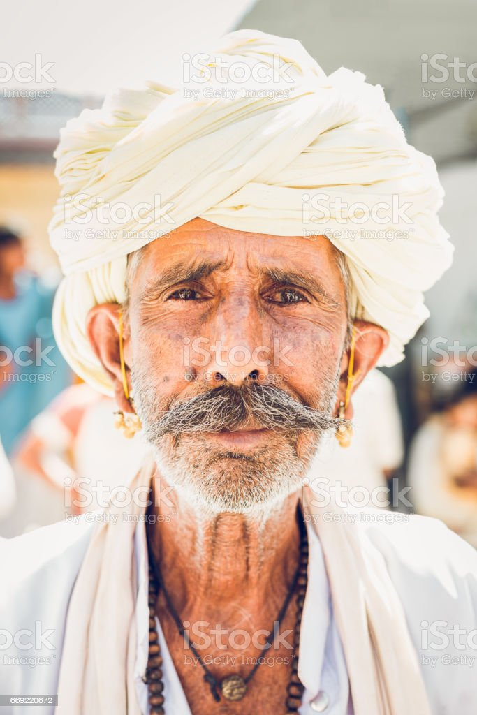 Indian Man with White Turban Real People Portrait India stock photo