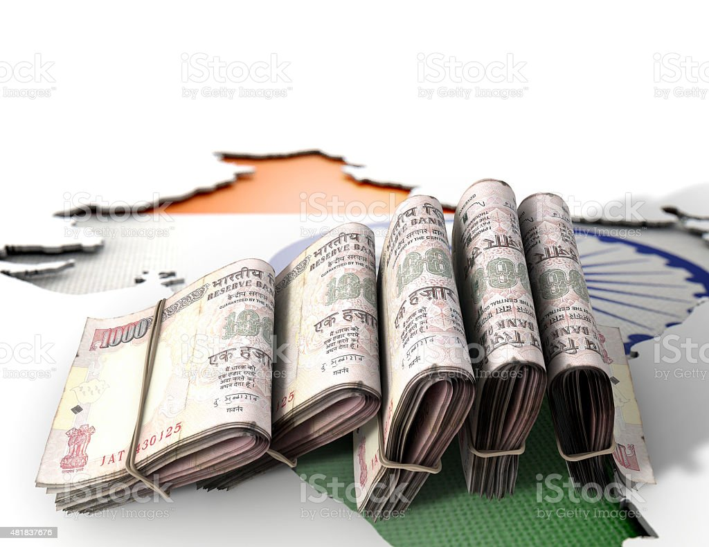 Indian Map And Folded Notes stock photo