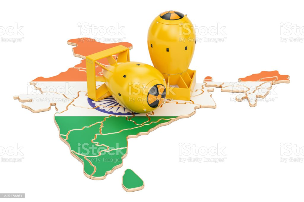 Indian map with nuclear weapon concept, 3D rendering stock photo
