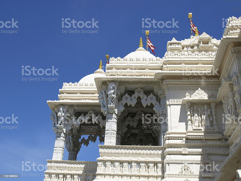 Indian Marble Temple with Cupola and Stone Carving. royalty-free stock photo