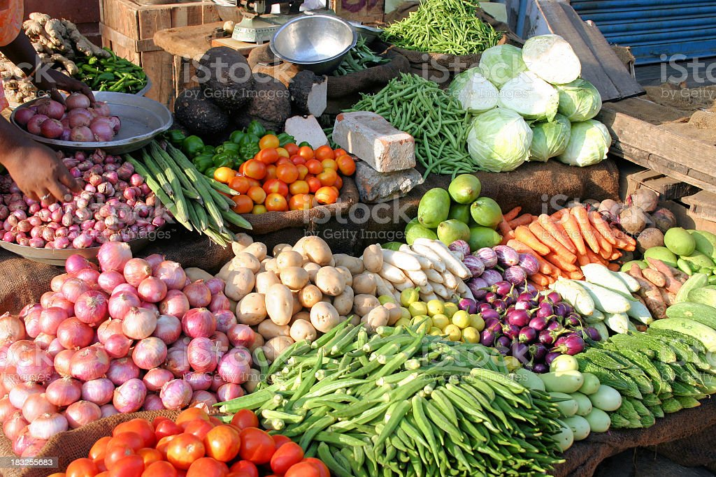 Indian marketplace showing different kinds of vegetables stock photo