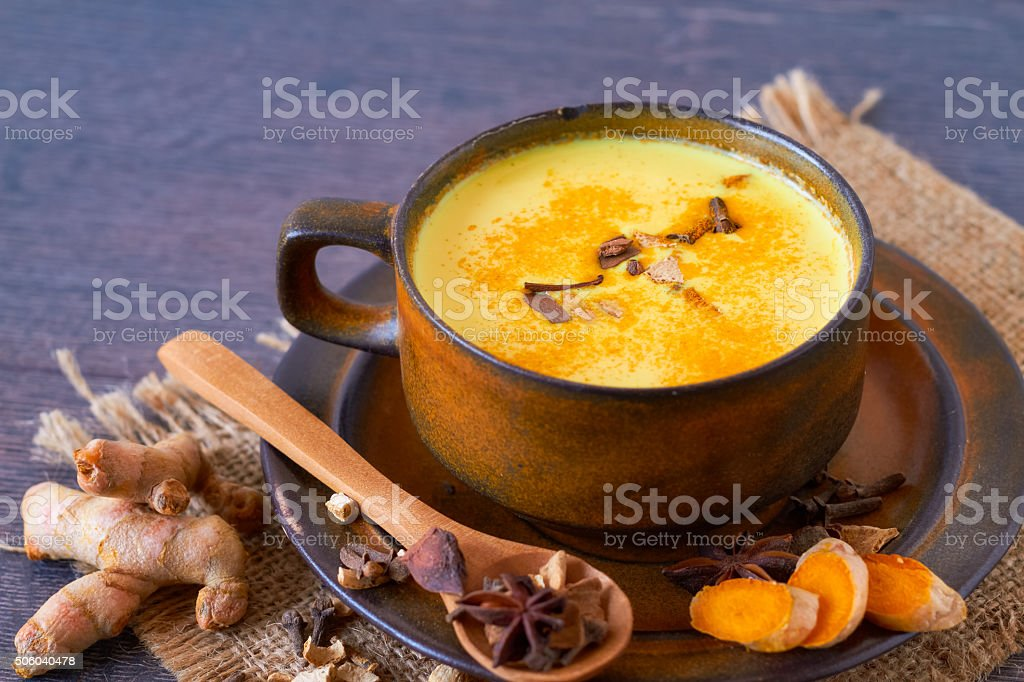 Indian masala chai with spices stock photo