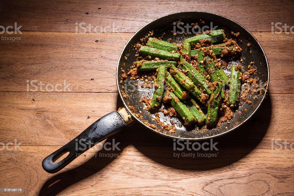Indian masala fried bhindi or ladyfinger, curry stock photo