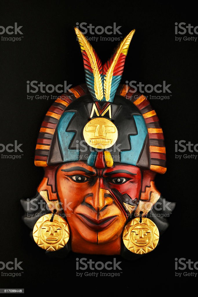 Indian Mayan Aztec ceramic mask isolated on black royalty-free stock photo