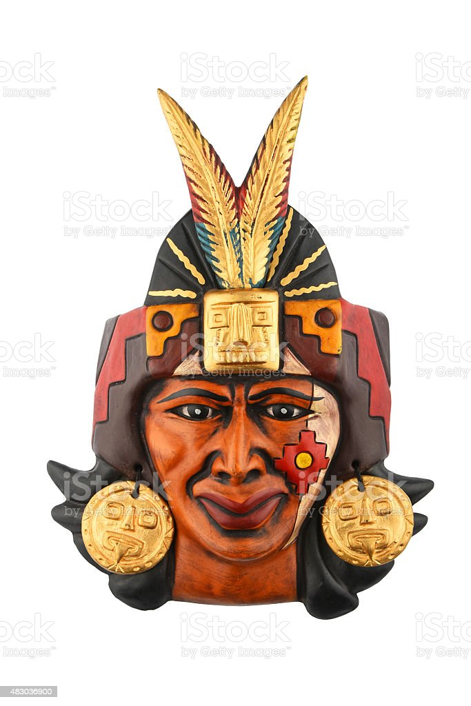 Indian Mayan Aztec ceramic painted mask isolated on white royalty-free stock photo