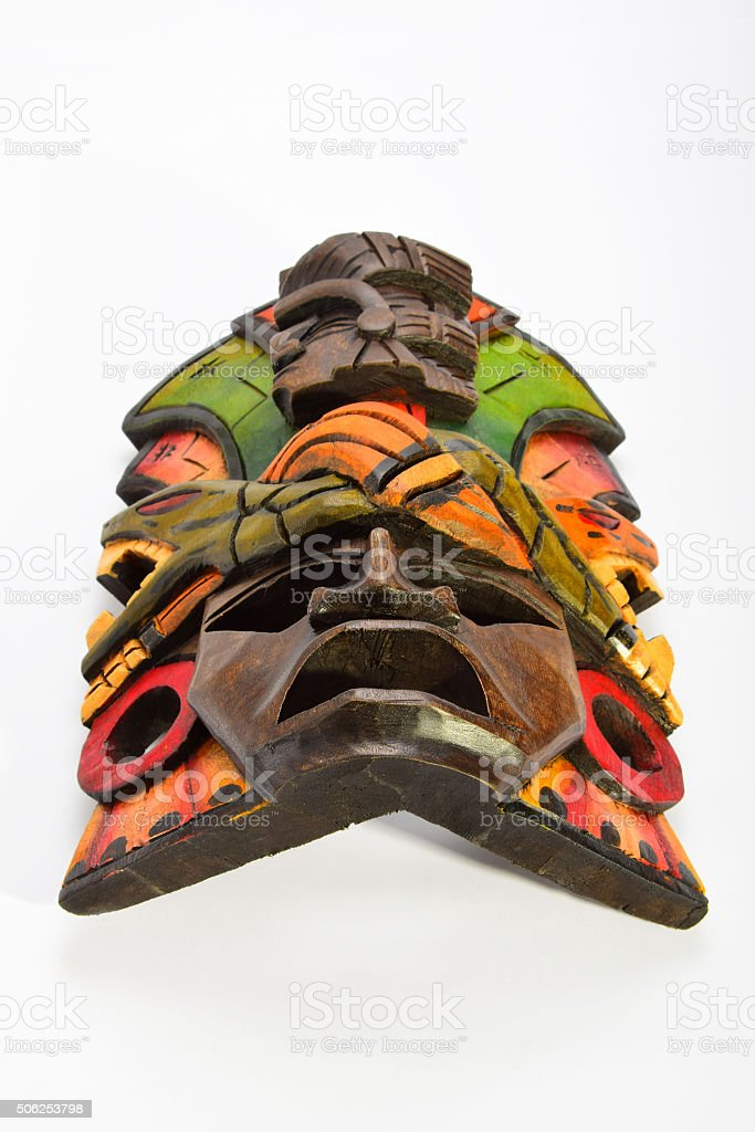 Indian Mayan Aztec wooden mask with anaconda and jaguar isolated royalty-free stock photo