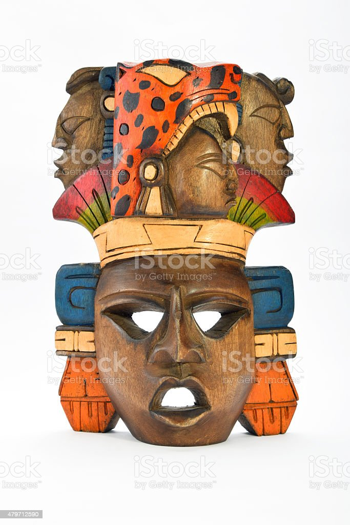 Indian Mayan Aztec wooden painted mask isolated on white royalty-free stock photo