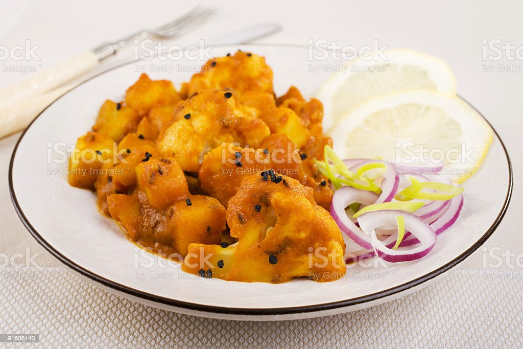 Indian Meal Cauliflower and Potato Curry royalty-free stock photo