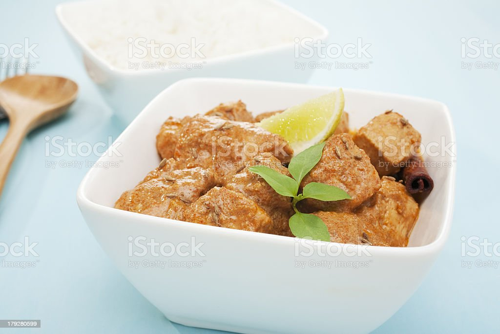 Indian Meal Food Cuisine Butter Chicken Curry with Rice stock photo