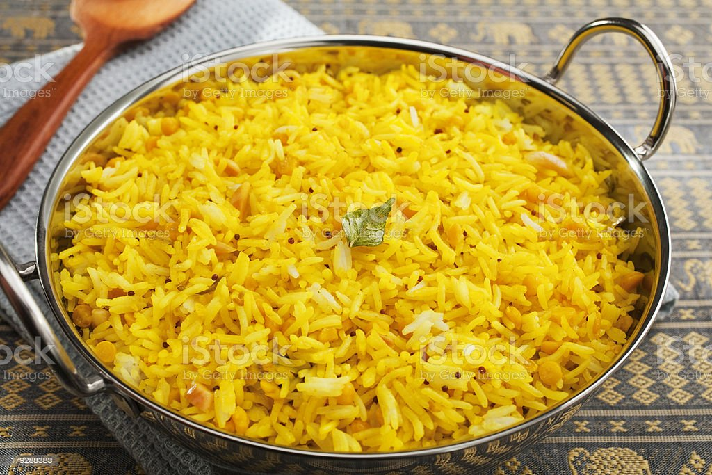 Indian Meal Food Cuisine Curry Lemon Rice or Pullao stock photo